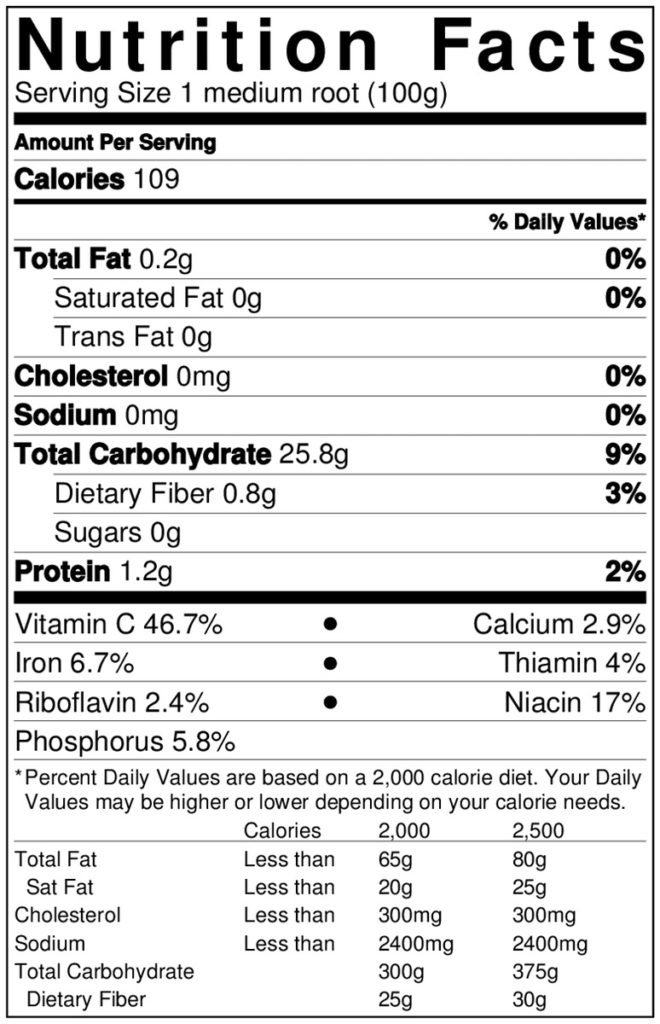 arracacha-nutrition-label